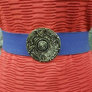 Vintage 1989 Medallion Purple Elastic Belt
